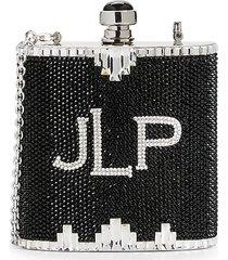 judith leiber women's logo rhinestone flask crossbody bag - black