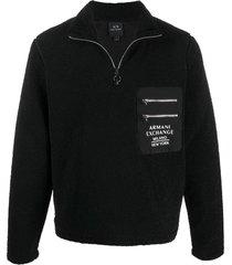armani exchange turtleneck fleece sweatshirt - black