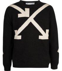off-white twisted arrows knit crewneck sweatshirt