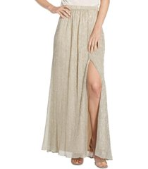 adrianna papell pleated metallic skirt
