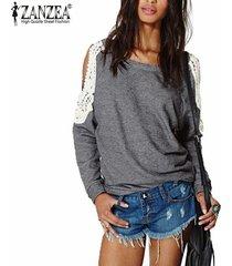 zanzea blusas de las mujeres 2018 mujer suéter manga o cuello largo del hombro del cordón del ganchillo camisa otoño blusas tops de gran tamaño s-5xl gris -gris