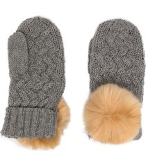 hucklebones london pom-pom chunky-knit mittens - grey