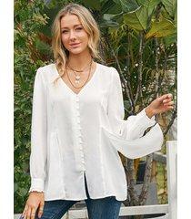 camicetta casual a maniche lunghe plissettata con decorazione di perle tinta unita per donna