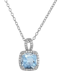 """aquamarine (2-1/20 ct. t.w.) & lab-created white sapphire (1/20 ct. t.w.) 18"""" pendant necklace in sterling silver"""