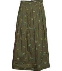 cada embroidery knälång kjol grön rodebjer
