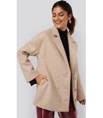 afj x na-kd buttoned soft blazer jacket - beige