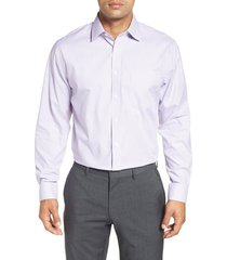 men's big & tall nordstrom men's shop traditional fit non-iron stripe dress shirt, size 18 34/35 - purple