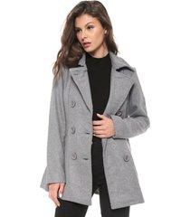 casaco sobretudo facinelli by mooncity botãµes cinza - cinza - feminino - poliã©ster - dafiti