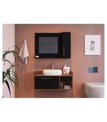 conjunto para banheiro bangkok com gabinete suspenso 2 pt 1 gv preto e marrom