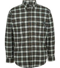 wolverine men's fr plaid long sleeve twill shirt espresso plaid, size xxl