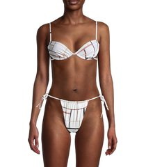 weworewhat women's ruched underwire bikini top - pearl multicolor - size s