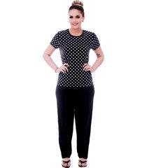 pijama ficalinda  de blusa manga curta estampa poá preto de bolas brancas e viés preto e calça comprida preta.