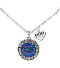 florida gators silver crystal necklace with mom charm jewelry uf