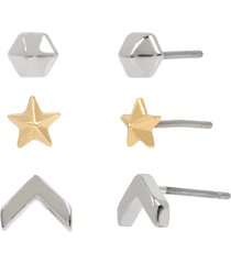 women's allsaints 3-pack star stud earrings