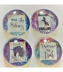 set of 4 pastel ultra sparkle unicorn magnets/pins/pendants