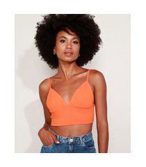 top cropped feminino mindset alça fina decote v laranja