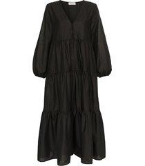 matteau tiered cotton poplin maxi dress - black