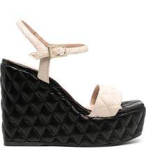 paul warmer diamond quilted wedge sandals - neutrals