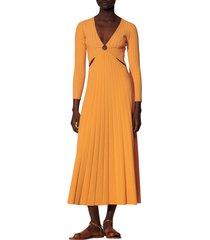 women's sandro bruna cutout detail long sleeve sweater dress, size 8 us - orange