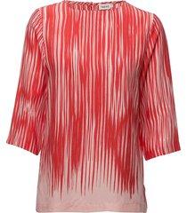 printed drapey tee blus långärmad röd filippa k