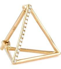 'triangle' diamond 18k yellow gold pyramid single earring - 15mm