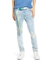 men's big & tall cult of individuality belted punk super skinny stretch jeans, size 44 - blue/green