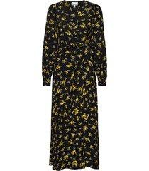 printed crepe wrap dress maxiklänning festklänning svart ganni