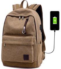 mochila con puerto externo de usb y audifonos para unisexo - café