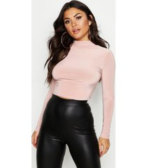 double layer slinky funnel neck crop top, blush