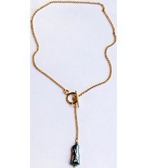 naszyjnik z perłą - gold - stal szlachetna