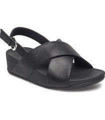 lulu cross back-strap sandals - leather shoes summer shoes flat sandals svart fitflop