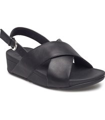 lulu cross back-strap sandals - leather shoes summer shoes flat sandals svart fitflop