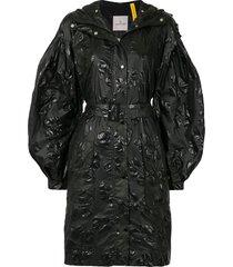 moncler floral-embossed belted raincoat - black
