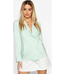 petite light weight double breasted blazer, sage