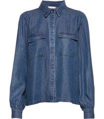 cas shirt overhemd met lange mouwen blauw just female