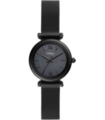 fossil women's carlie mini black stainless steel bracelet watch 28mm