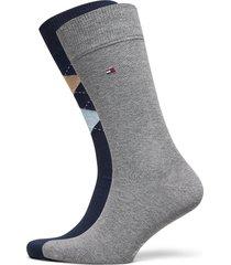 th men sock check 2p underwear socks regular socks grå tommy hilfiger