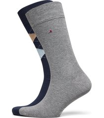 th men sock check 2p underwear socks regular socks grå tommy hilfiger