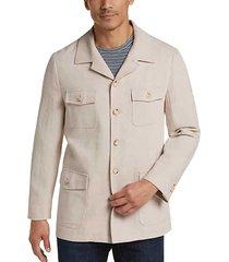 joseph abboud men's tan linen & cotton modern fit casual coat - size: xl