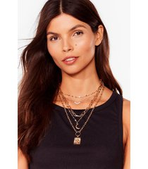 womens high fucking five layered pendant necklace - gold