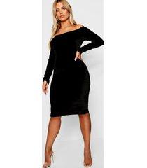plus bardot velvet midi dress, black