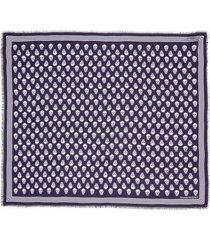 women's alexander mcqueen skull print modal scarf, size one size - purple