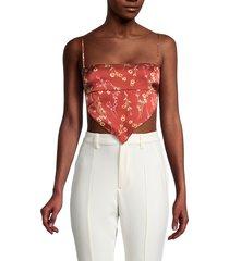 danielle bernstein women's floral bandana crop top - redwood - size xxl
