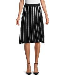 striped cotton-blend a-line skirt