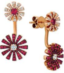 le vian certified ruby (9/10 ct. t.w.) & diamond (5/8 ct. t.w.) earring jackets in 14k rose gold