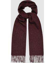 reiss ashton - lambswool cashmere blend scarf in bordeaux, mens