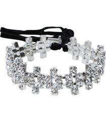 embellished silver-tone crystal choker