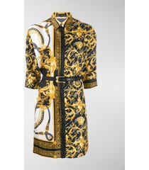 versace barocco fitted shirt dress