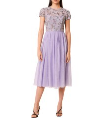 french connection diya fit & flare midi dress, size 10 in lavender at nordstrom