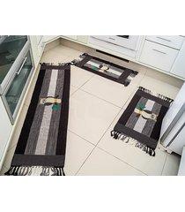 jogo de tapete  cozinha biju tabaco coruja com 3 peças - valle enxovais
